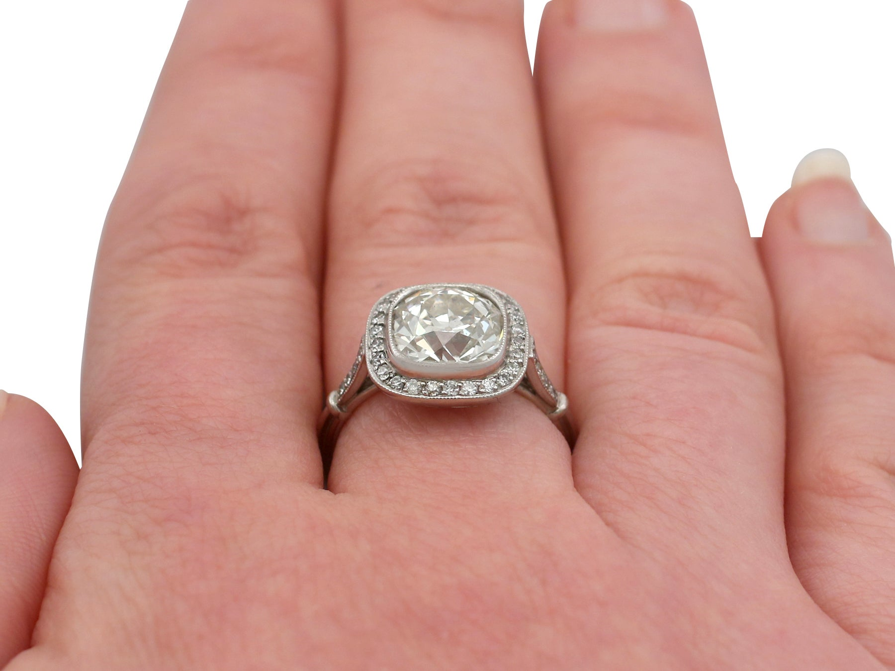 1900s 3.31 Carat Diamond and Platinum Halo Engagement Ring at 1stdibs