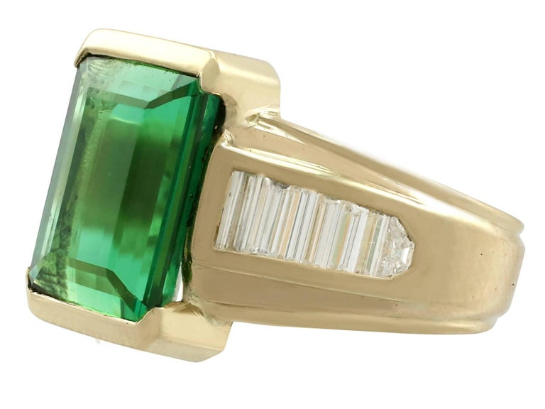 Baguette Cut 1990s 6.20 Carat Tourmaline and Diamond Yellow Gold Cocktail Ring For Sale