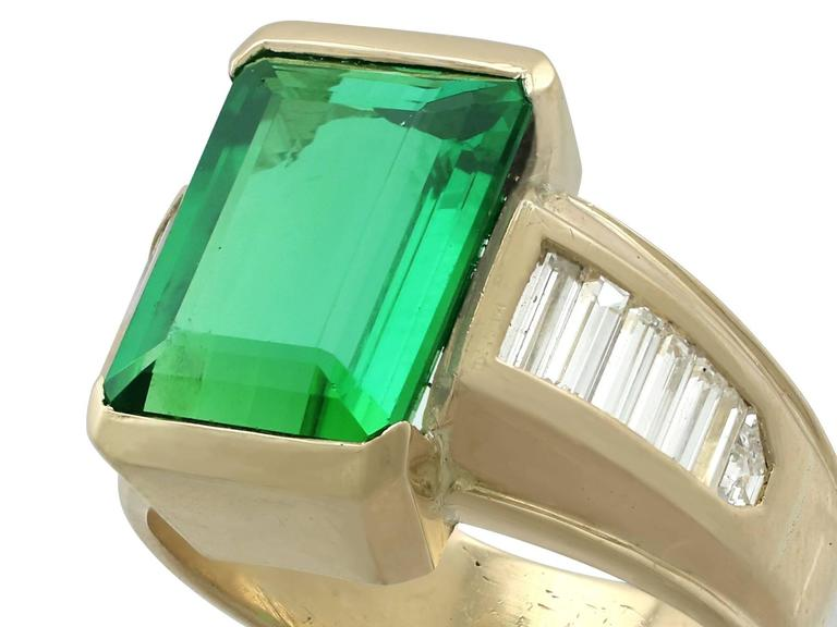 Retro 1990s 6.20 Carat Tourmaline and Diamond Yellow Gold Cocktail Ring For Sale