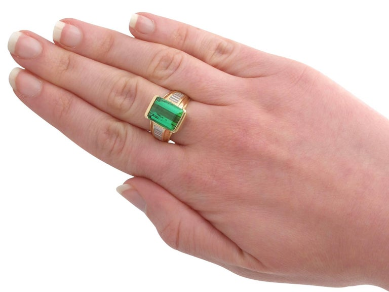 1990s 6.20 Carat Tourmaline and Diamond Yellow Gold Cocktail Ring For Sale 1