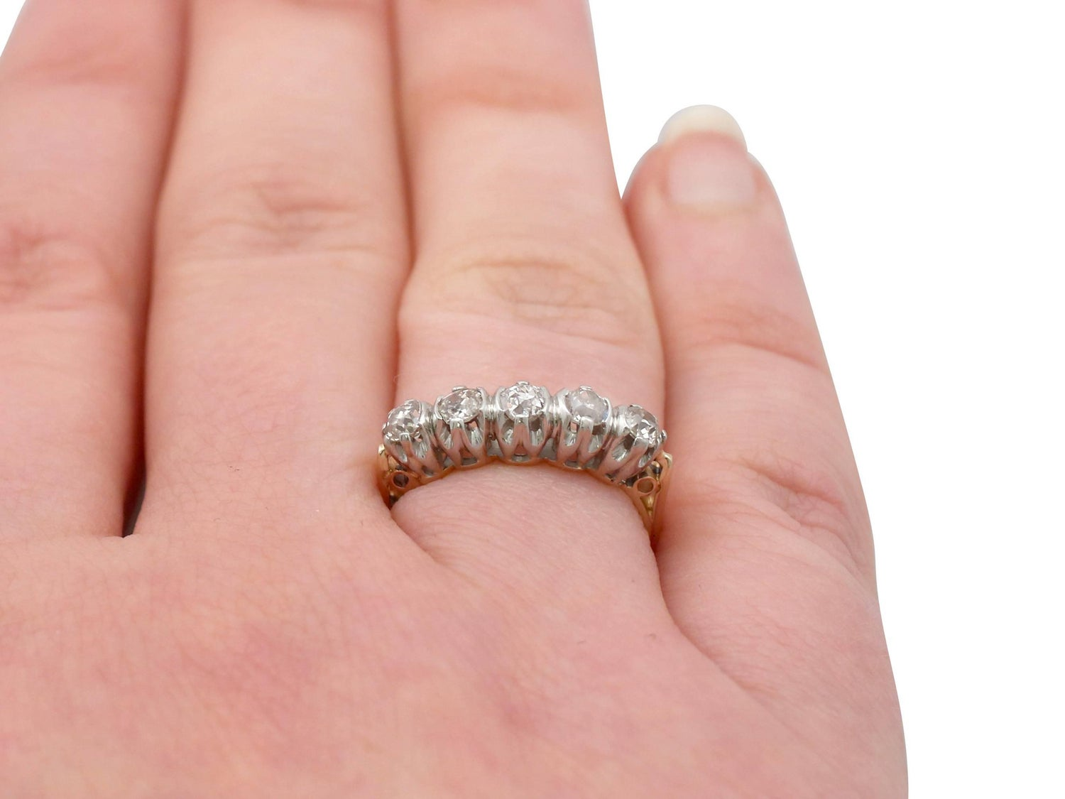 1910s Diamond Yellow Gold Five-Stone Ring For Sale at 1stdibs