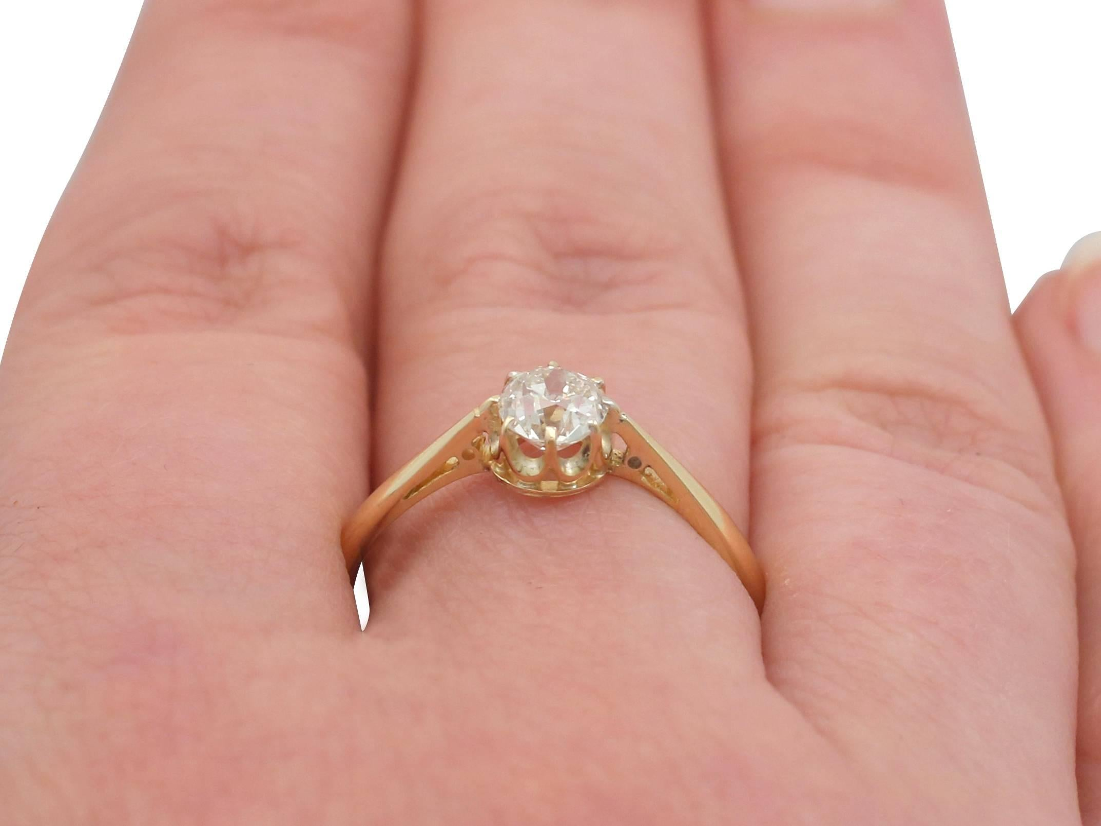 1910s Diamond and Yellow Gold Solitaire Engagement Ring at 1stdibs