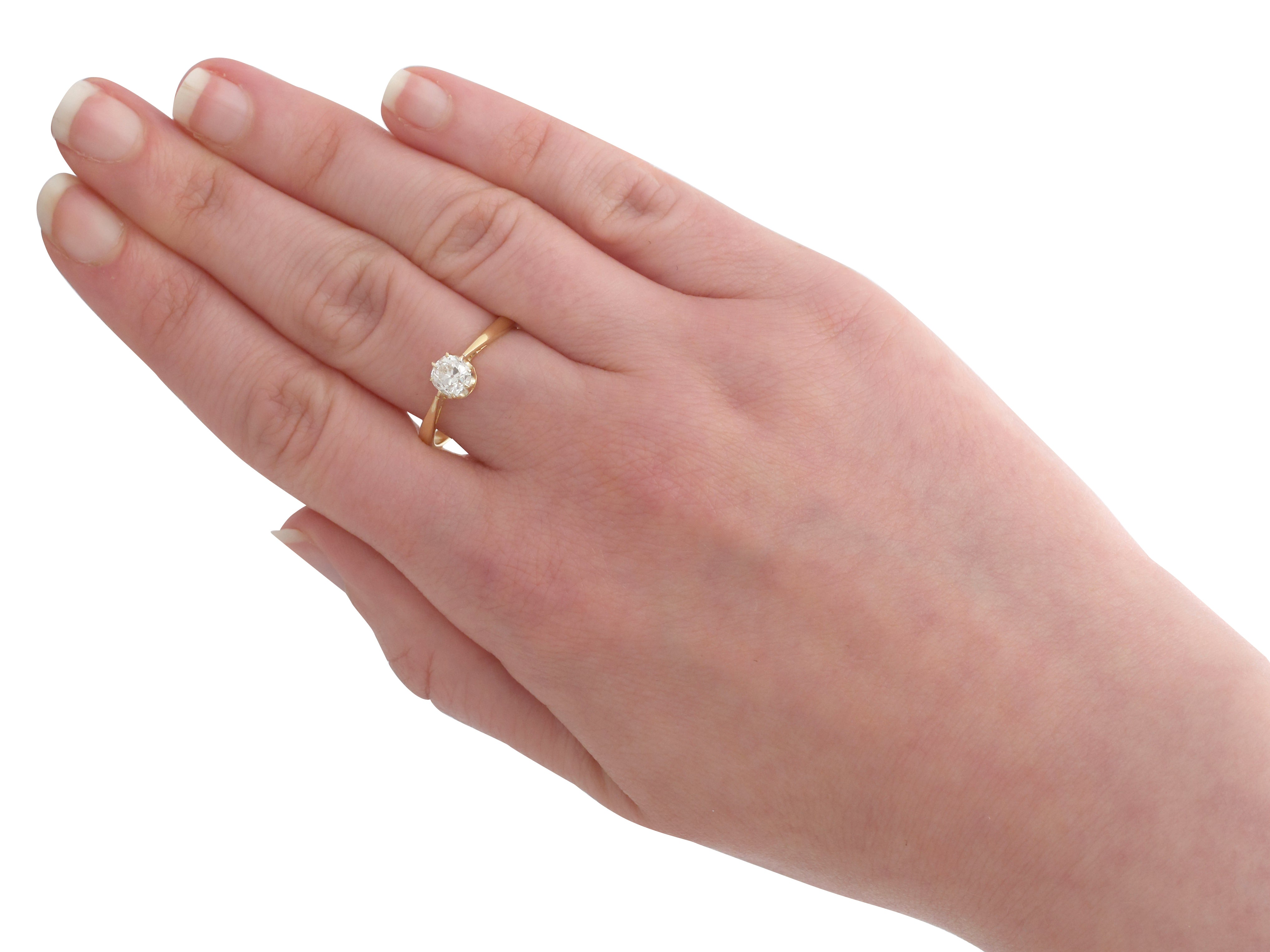 1910s Diamond and Yellow Gold Solitaire Engagement Ring