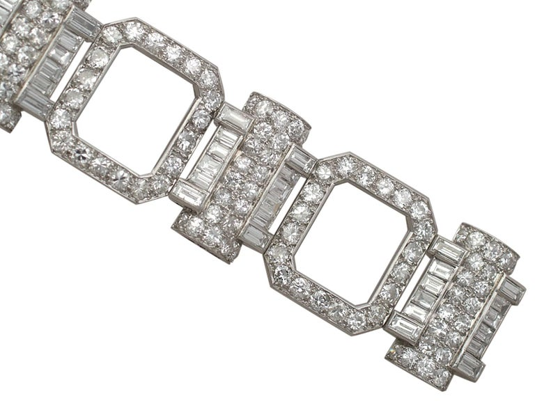 Women's 1950s French  21.38 Carat Diamond and Platinum Bracelet For Sale