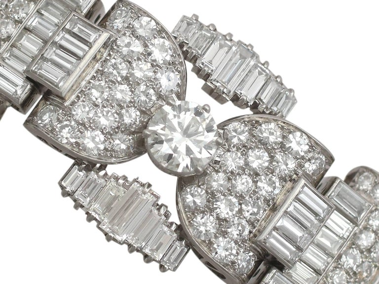 1950s French  21.38 Carat Diamond and Platinum Bracelet For Sale 1