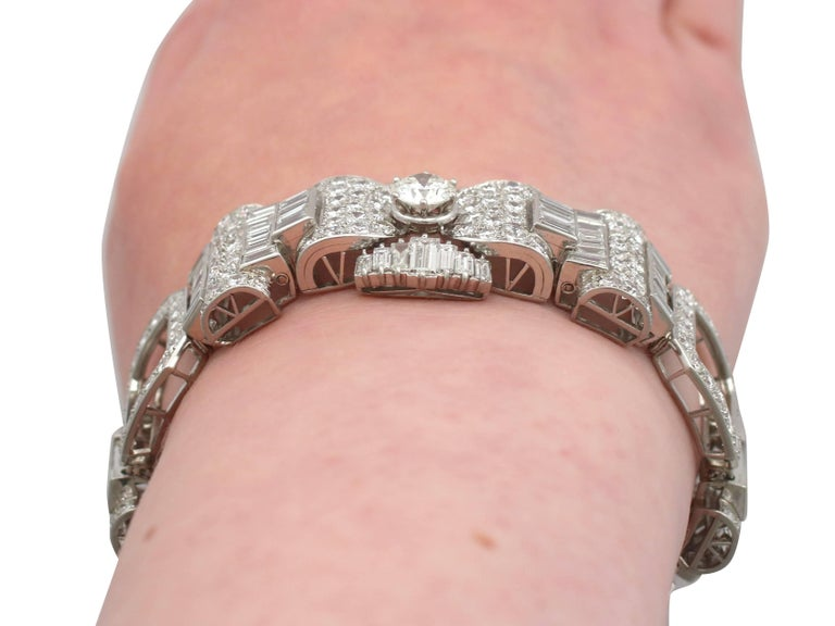 1950s French  21.38 Carat Diamond and Platinum Bracelet For Sale 4