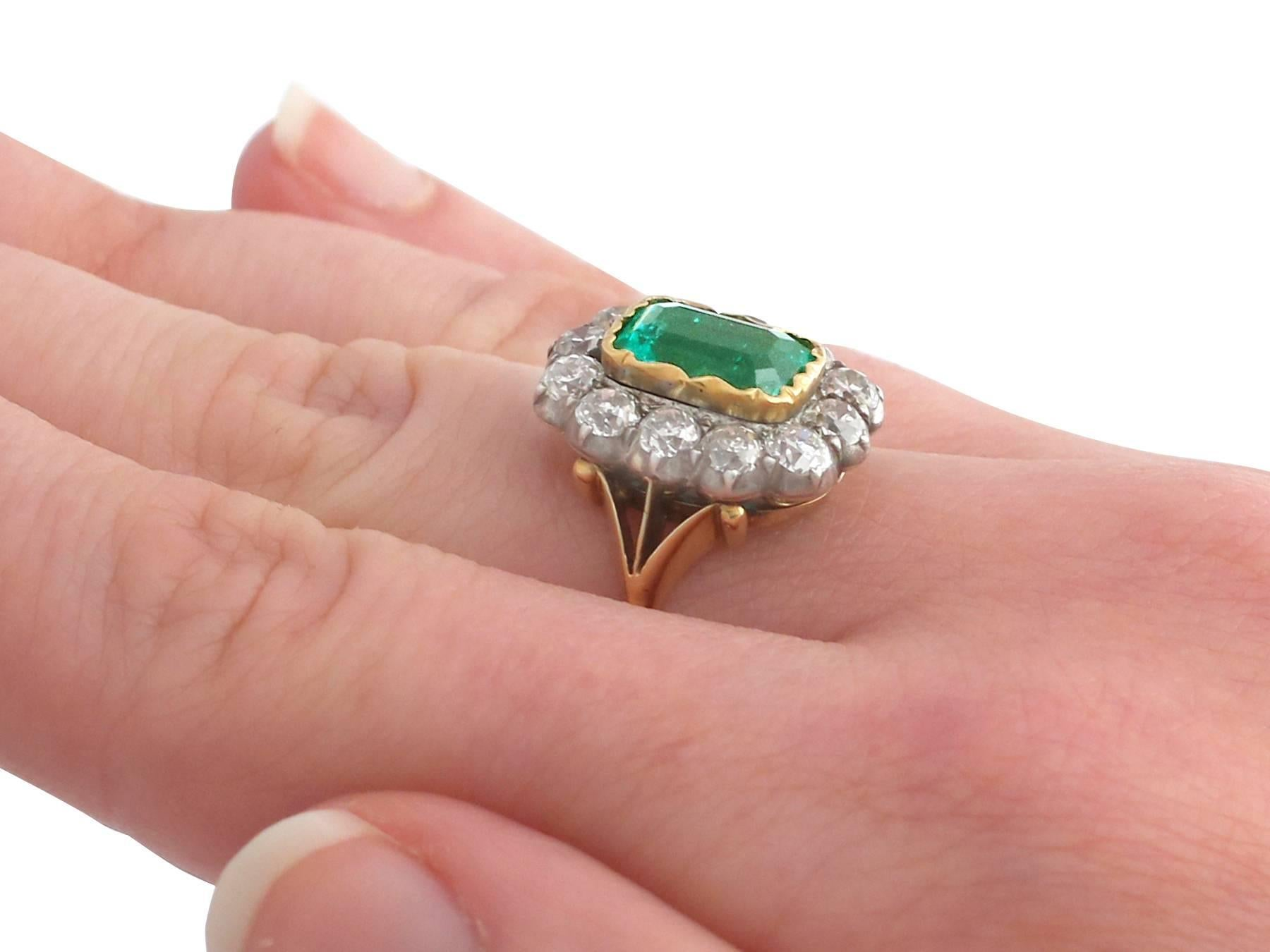 1890s 2 Carat Colombian Emerald and 2.2 Carat Diamond Yellow Gold ...