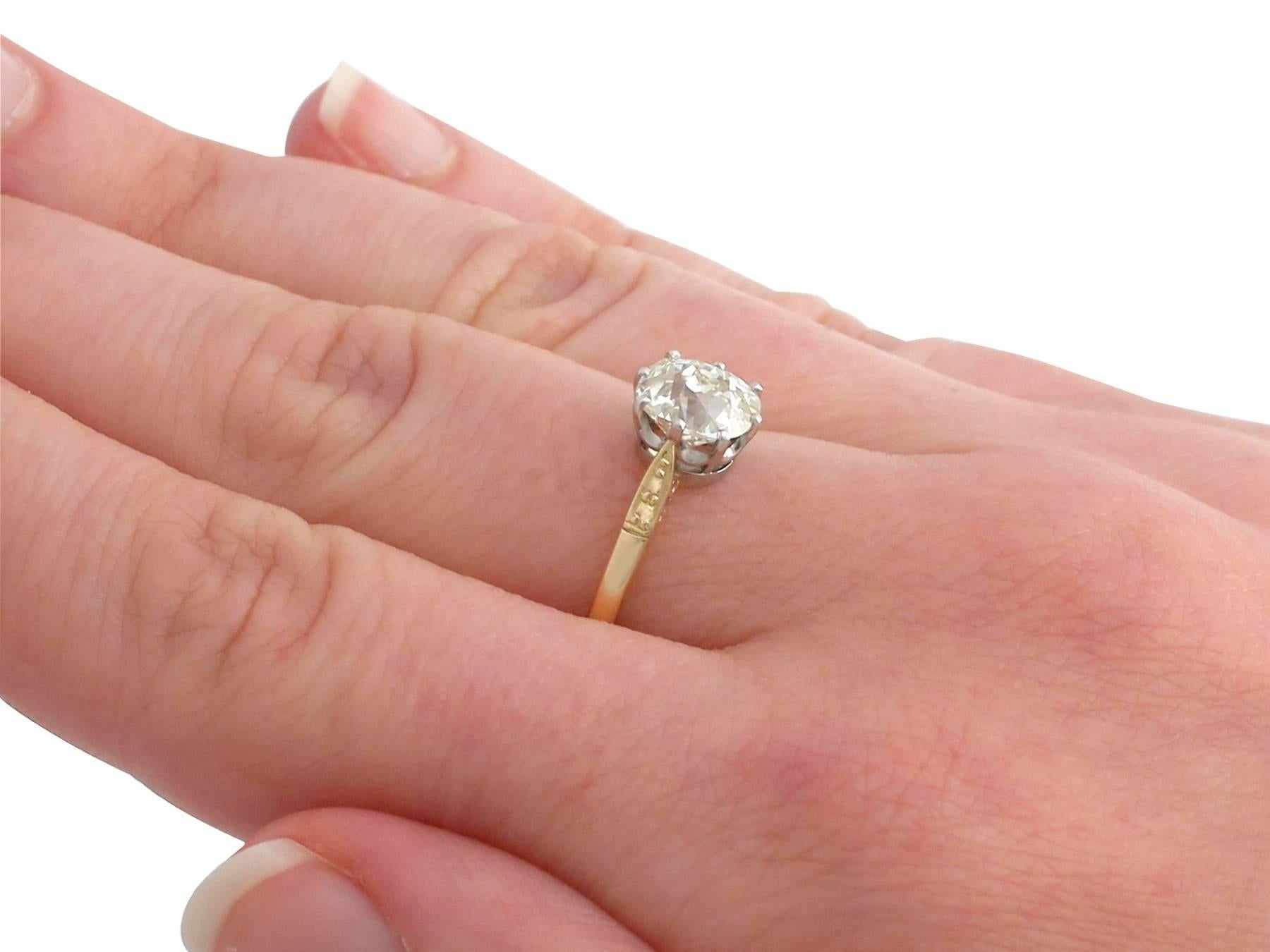 1910s 1.96 Carat Diamond and Yellow Gold Platinum Set Engagement ...