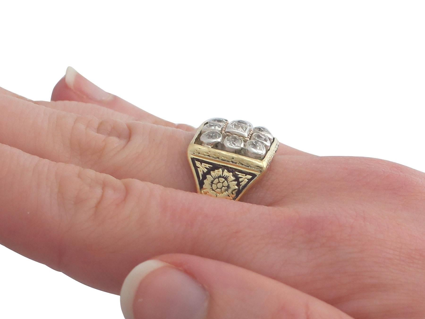 Victorian Diamond Yellow Gold, Silver Set Gents Ring at 1stdibs