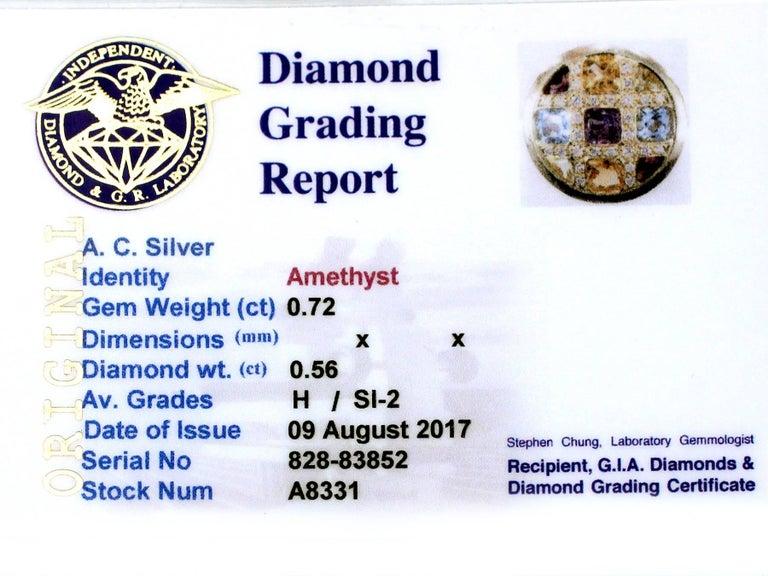 1980s Amethyst, Citrine, Topaz, Garnet and Diamond Yellow Gold Cocktail Ring 8