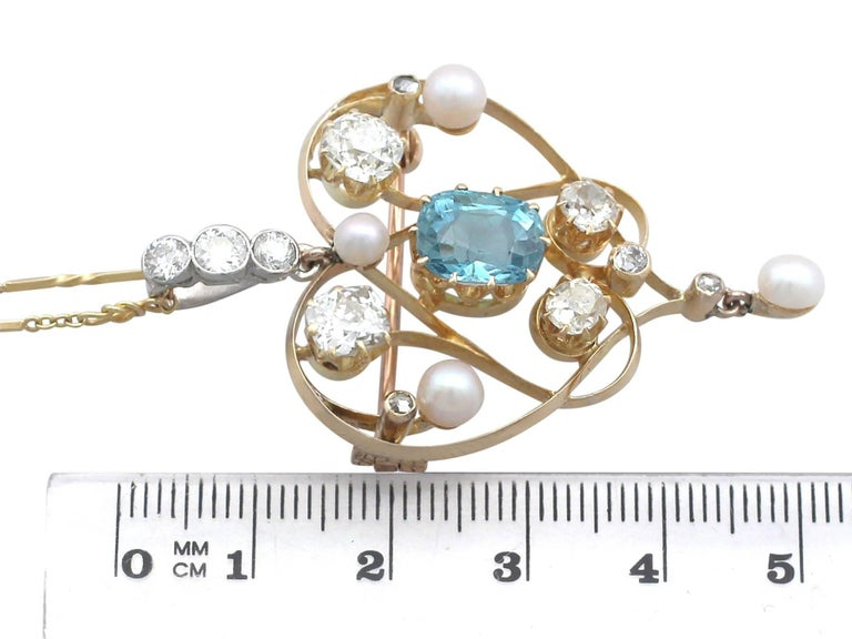 1890s Diamond and Aquamarine, Pearl and 18 Karat Yellow Gold Pendant / Brooch For Sale 1