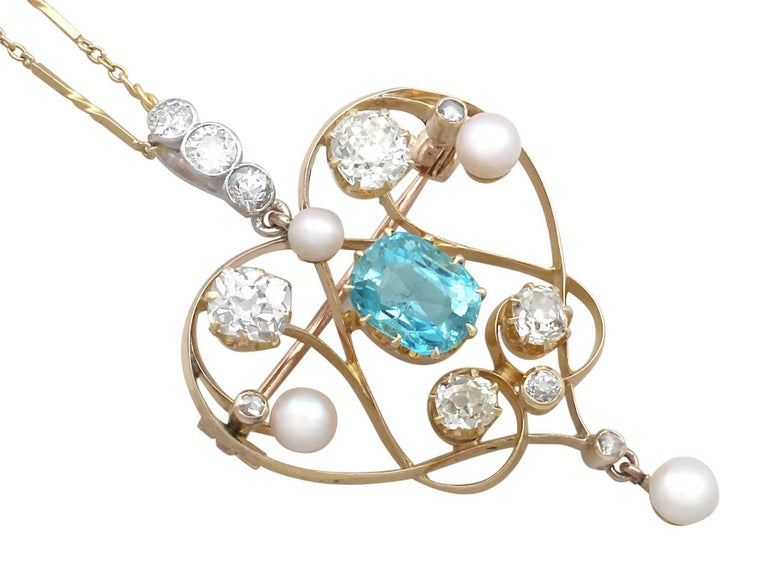 Late Victorian 1890s Diamond and Aquamarine, Pearl and 18 Karat Yellow Gold Pendant / Brooch For Sale