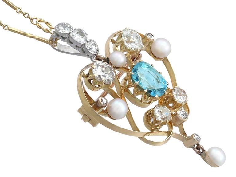 1890s Diamond and Aquamarine, Pearl and 18 Karat Yellow Gold Pendant / Brooch In Excellent Condition For Sale In Jesmond, Newcastle Upon Tyne