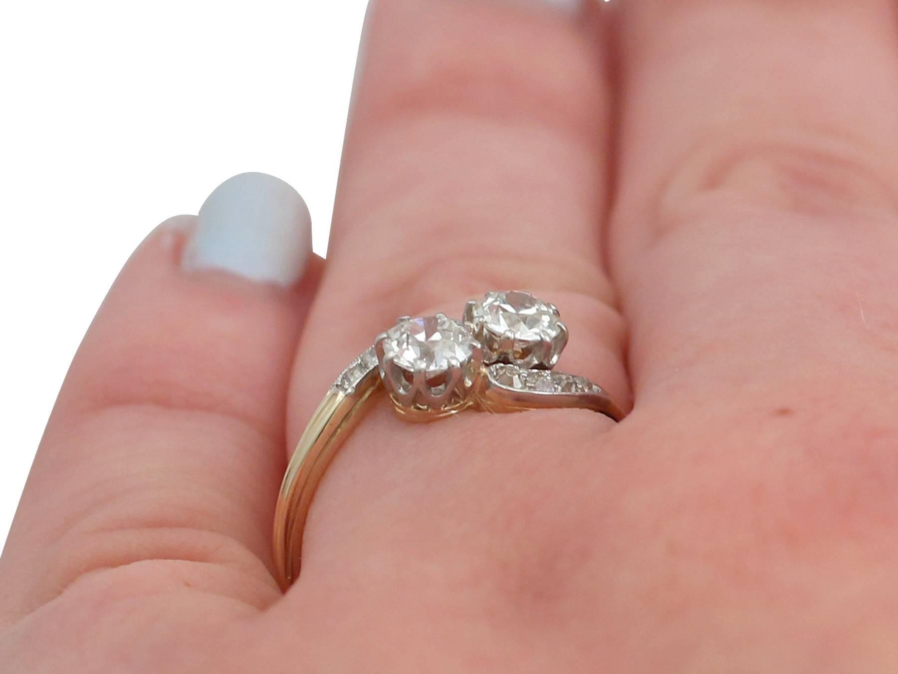 1920s Antique 0.98 Carat Diamond and 14 Karat Yellow Gold Twist Ring ...