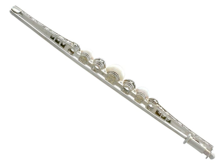 1920s Antique Diamond and Pearl, White Gold Bar Brooch For
