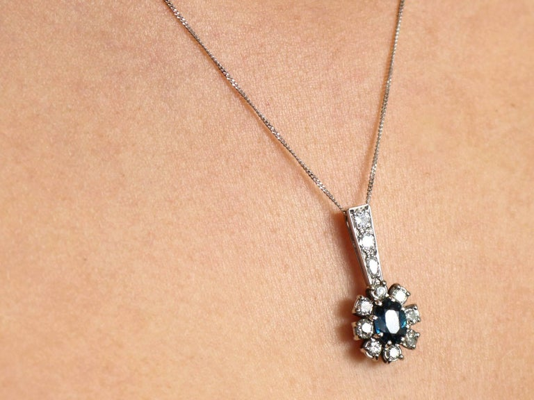 1970s Sapphire and Diamond White Gold Cluster Pendant 9