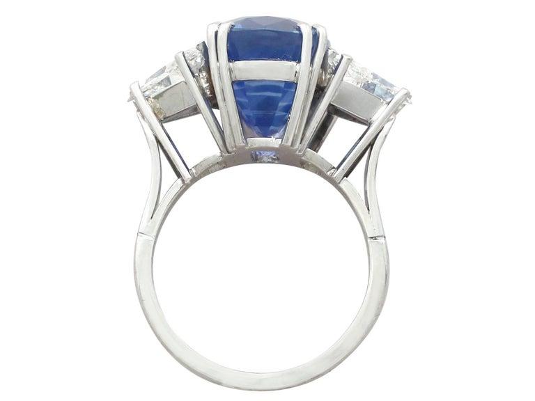 1990s Ceylon Sapphire and Diamond White Gold Dress Ring 5