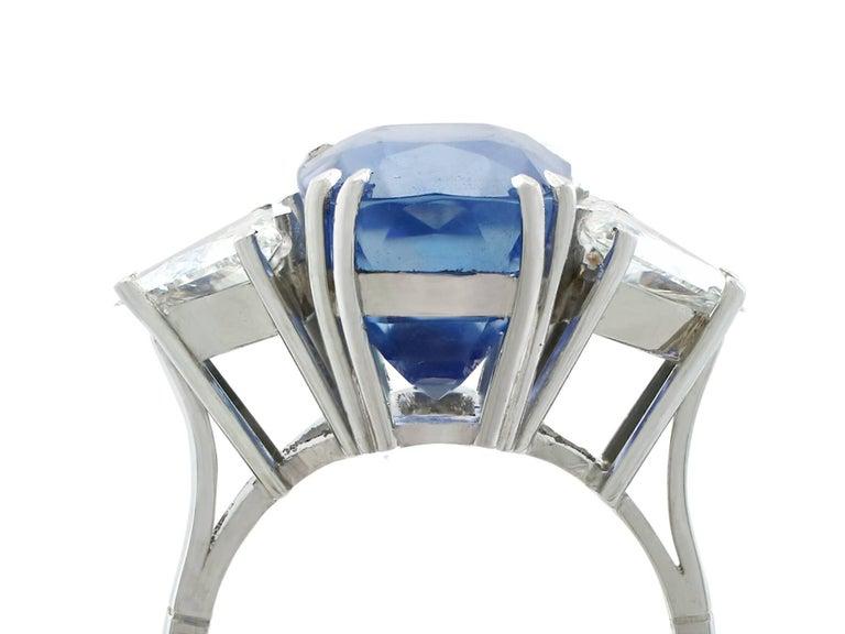 1990s Ceylon Sapphire and Diamond White Gold Dress Ring 2
