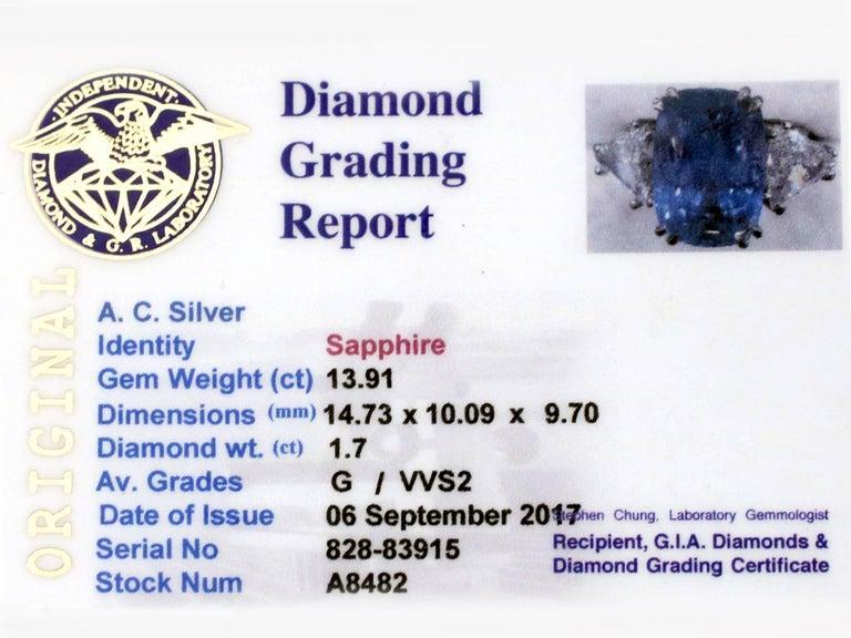 1990s Ceylon Sapphire and Diamond White Gold Dress Ring 7