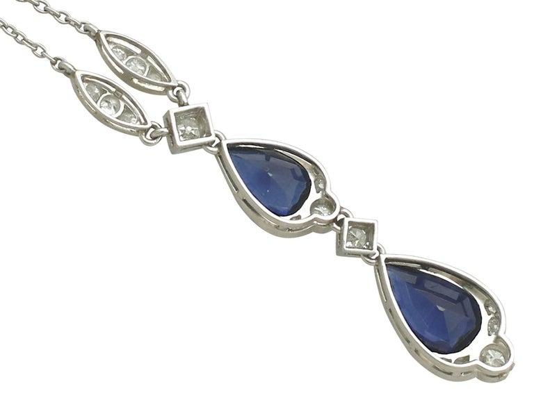 Women's 1930s 4.85 Carat Sapphire and Diamond, Platinum Teardrop Necklace For Sale