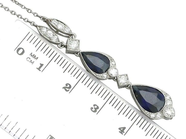1930s 4.85 Carat Sapphire and Diamond, Platinum Teardrop Necklace For Sale 1