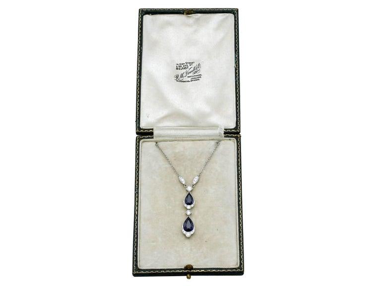 1930s 4.85 Carat Sapphire and Diamond, Platinum Teardrop Necklace For Sale 2