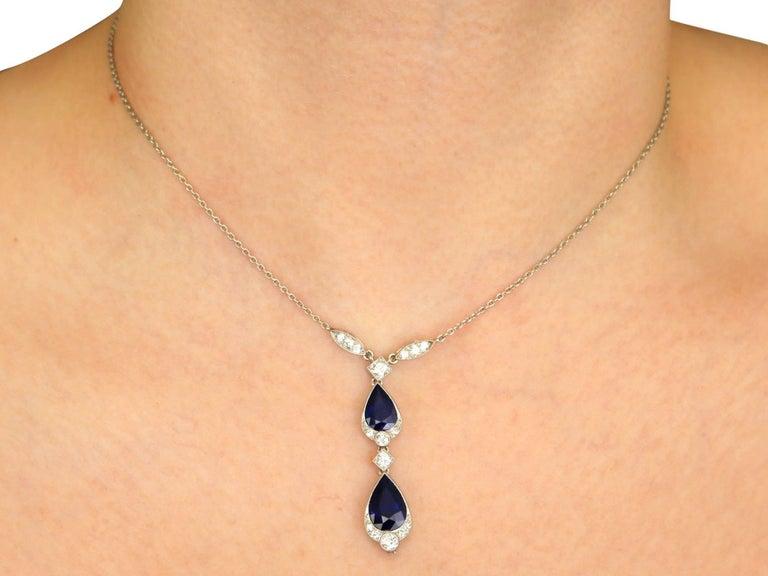 1930s 4.85 Carat Sapphire and Diamond, Platinum Teardrop Necklace For Sale 3