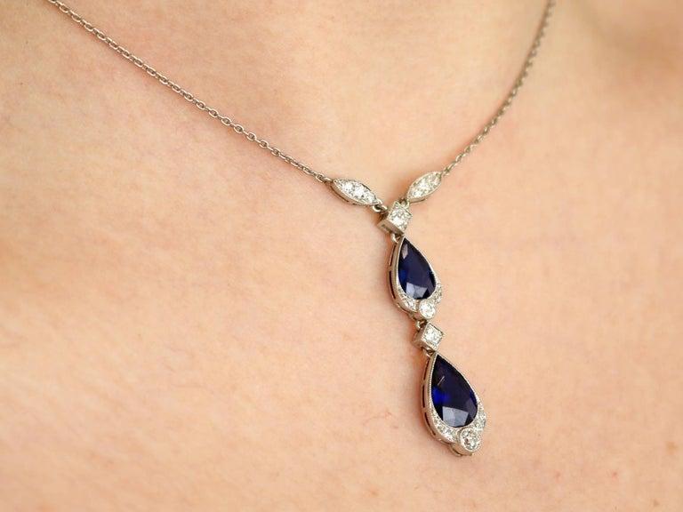 1930s 4.85 Carat Sapphire and Diamond, Platinum Teardrop Necklace For Sale 4