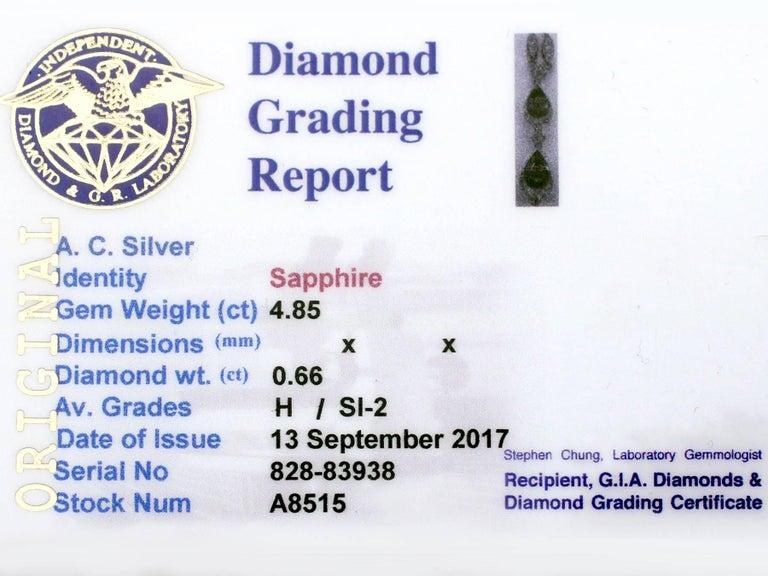 1930s 4.85 Carat Sapphire and Diamond, Platinum Teardrop Necklace For Sale 6