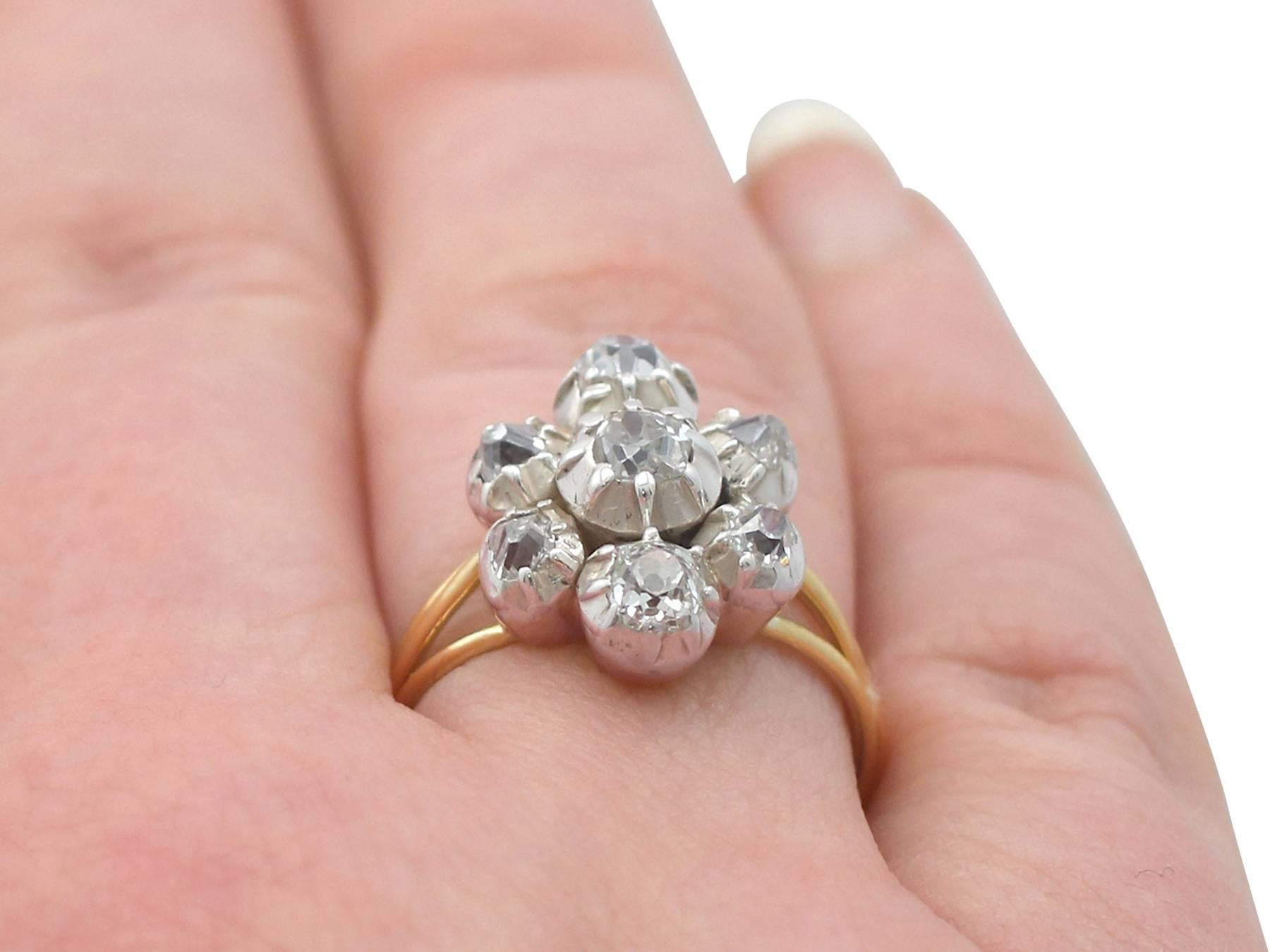 1820s Antique 1.28 Carat Diamond and Yellow Gold Silver Set Cluster ...