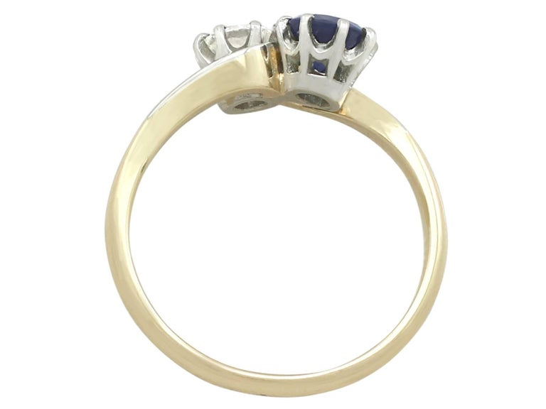 Women's 1950s Diamond and Sapphire Yellow Gold Twist Ring For Sale