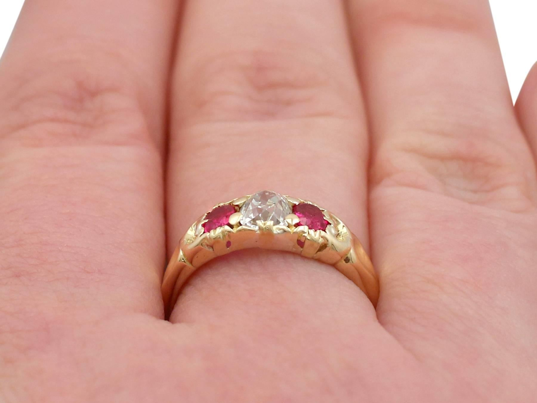 1890s Antique Victorian Diamond and Ruby Yellow Gold Trilogy Ring ...