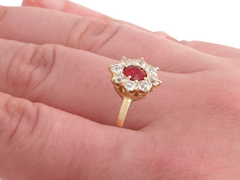 1930s Ruby and Diamond Yellow Gold Cluster Ring For Sale 3