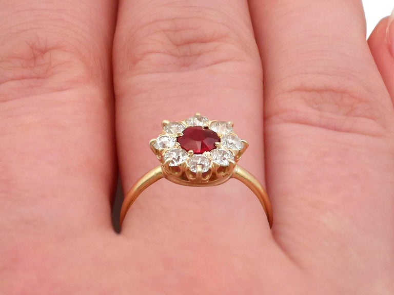 1930s Ruby and Diamond Yellow Gold Cluster Ring For Sale 4