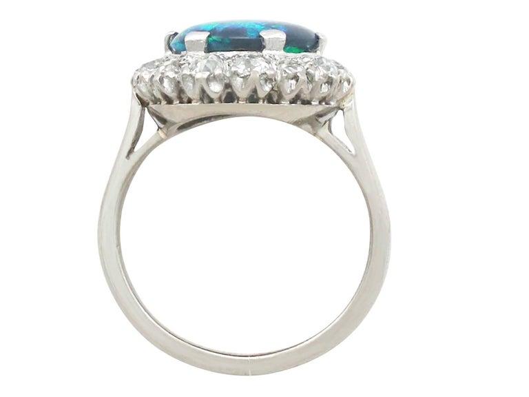 Women's 1930s Black Opal and Diamond Platinum Cluster Ring