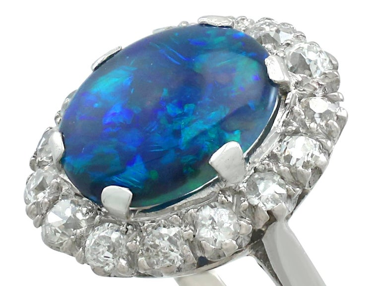 1930s Black Opal and Diamond Platinum Cluster Ring In Excellent Condition In Jesmond, Newcastle Upon Tyne