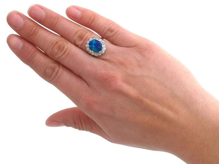 1930s Black Opal and Diamond Platinum Cluster Ring 2