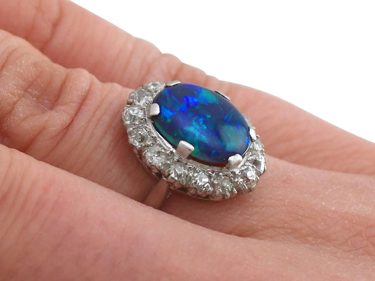 1930s Black Opal and Diamond Platinum Cluster Ring 3