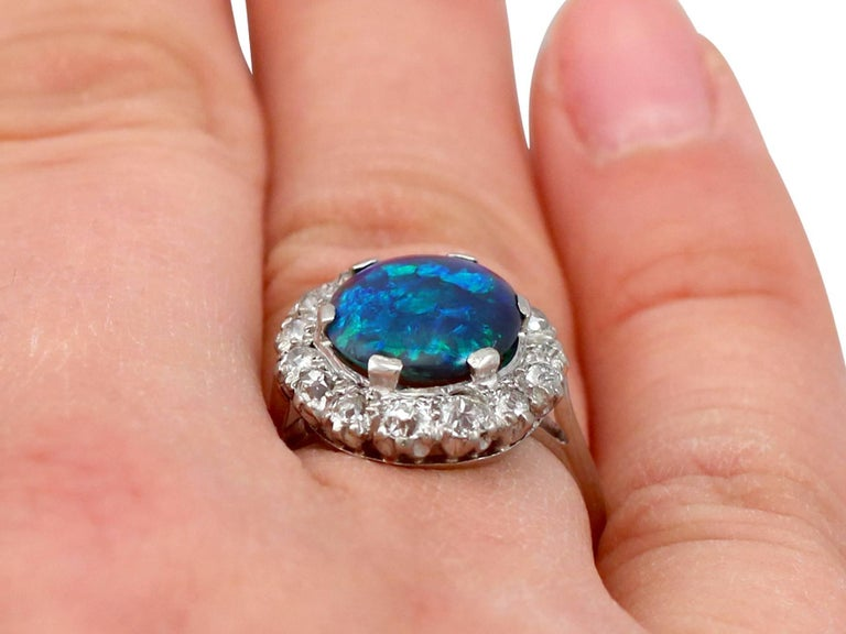1930s Black Opal and Diamond Platinum Cluster Ring 4