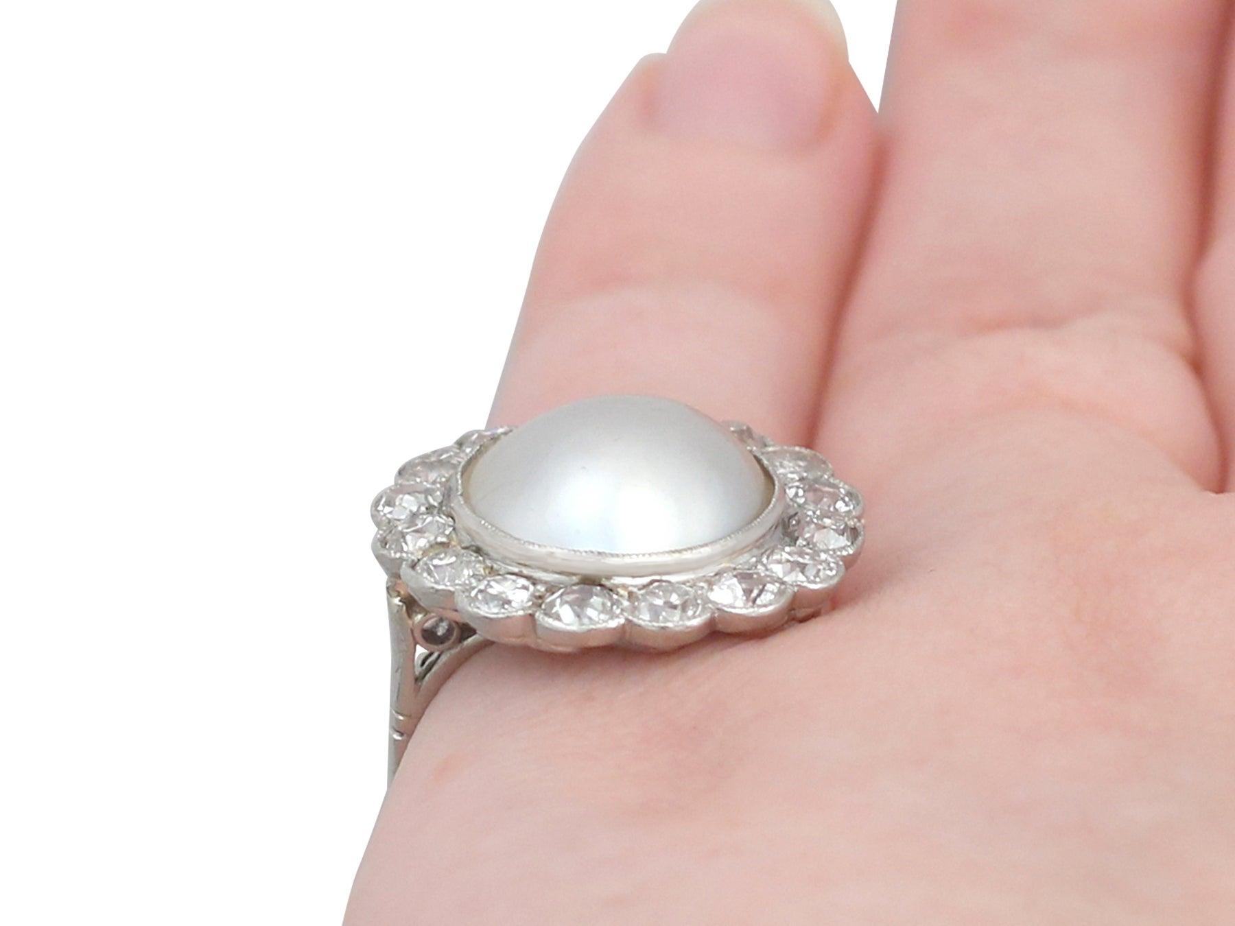 Antique 1930s Mabe Pearl and 1.90 Carat Diamond, Platinum Cluster ...