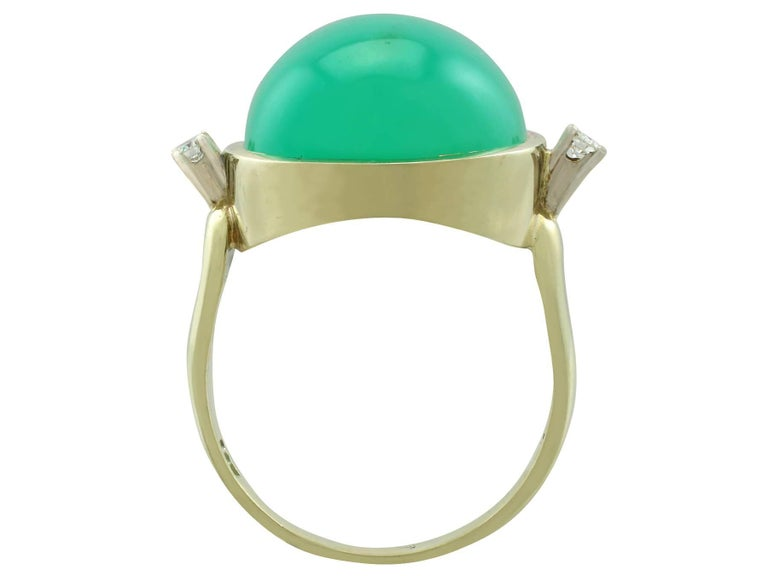 Women's or Men's 1930s Antique 14.98 Carat Chrysoprase and Diamond Yellow Gold Dress Ring For Sale