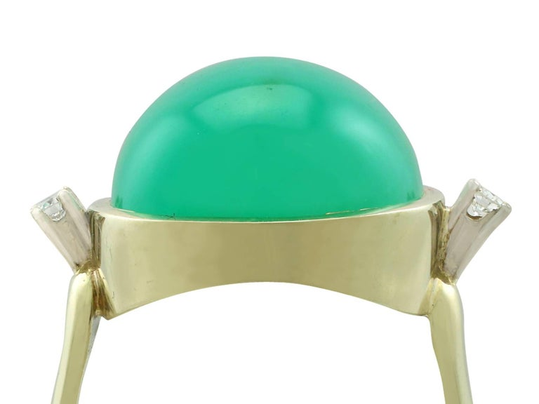 A stunning antique 14.98 Ct chrysoprase and 0.08 ct diamond, 14k yellow gold and 14k white gold set dress ring; part of our diverse antique ring collections.  This stunning, fine and impressive chrysoprase ring has been crafted in 14k yellow gold