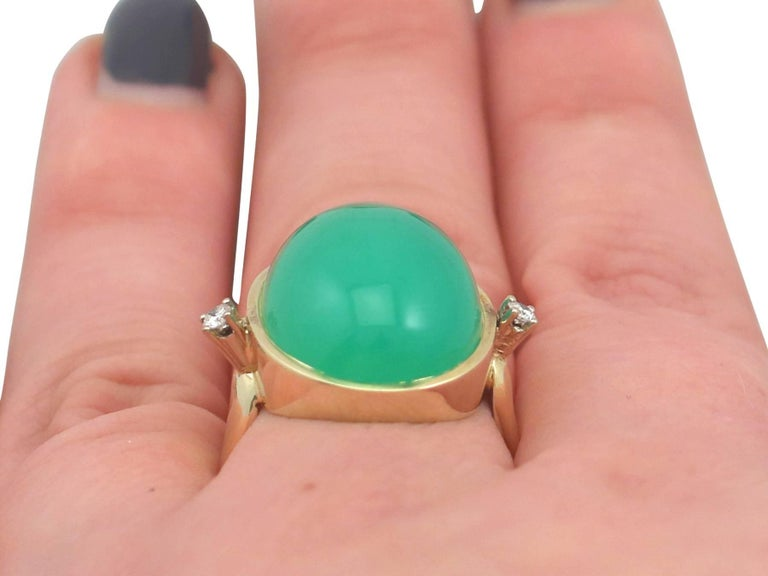 1930s Antique 14.98 Carat Chrysoprase and Diamond Yellow Gold Dress Ring For Sale 4