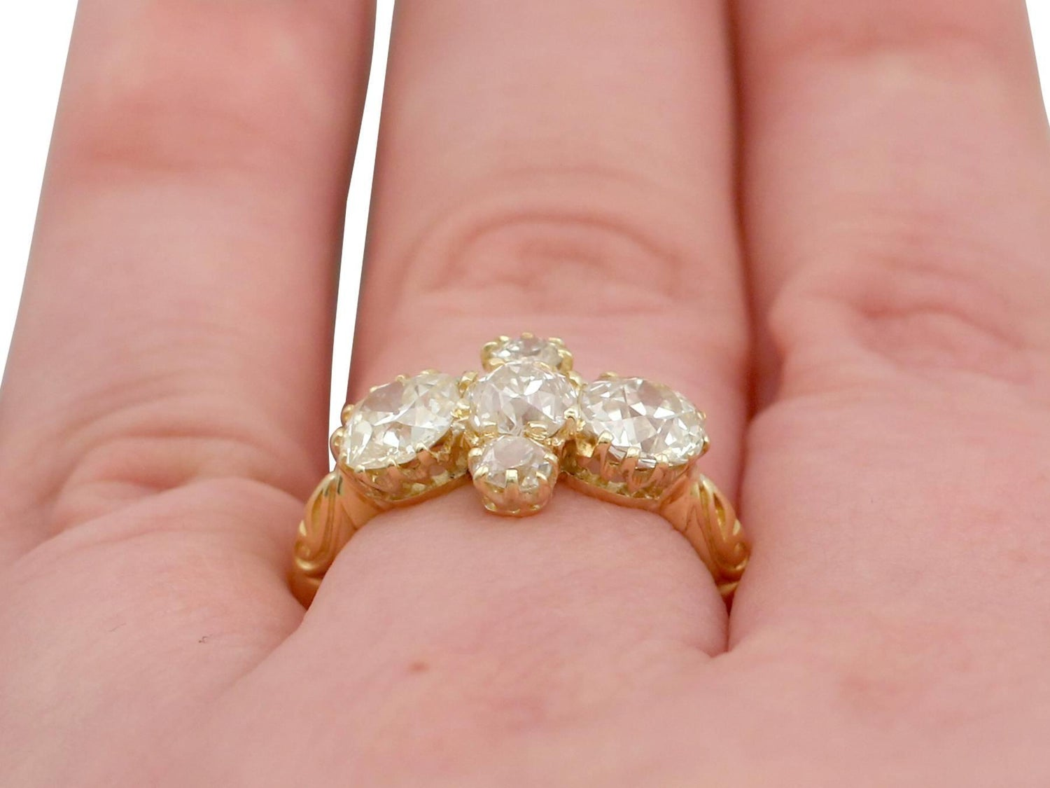 1890s Diamond and Yellow Gold Dress Ring For Sale at 1stdibs
