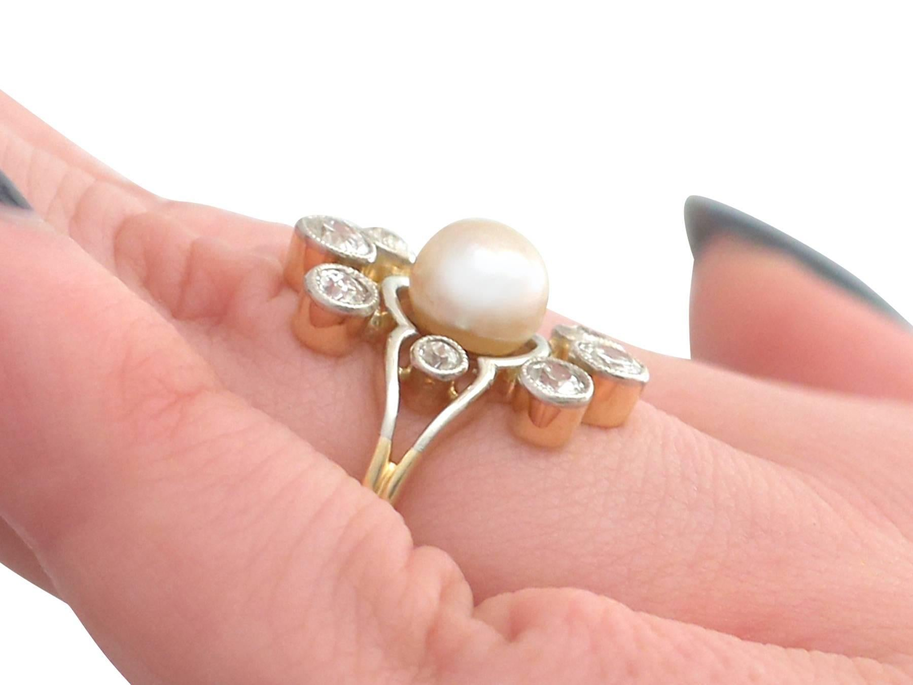 1930s Pearl and Diamond Yellow Gold Cluster Ring For Sale at 1stdibs