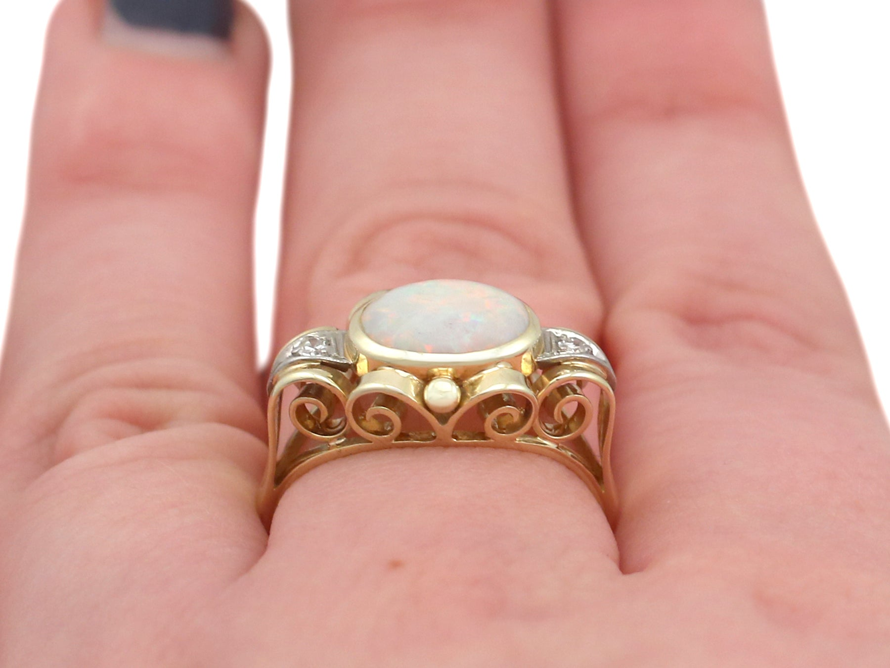 1940s Opal and Diamond Yellow Gold Dress Ring For Sale at 1stdibs