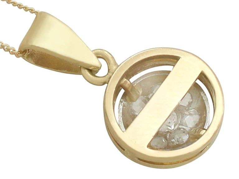 Women's 1920s Diamond Yellow Gold Pendant For Sale