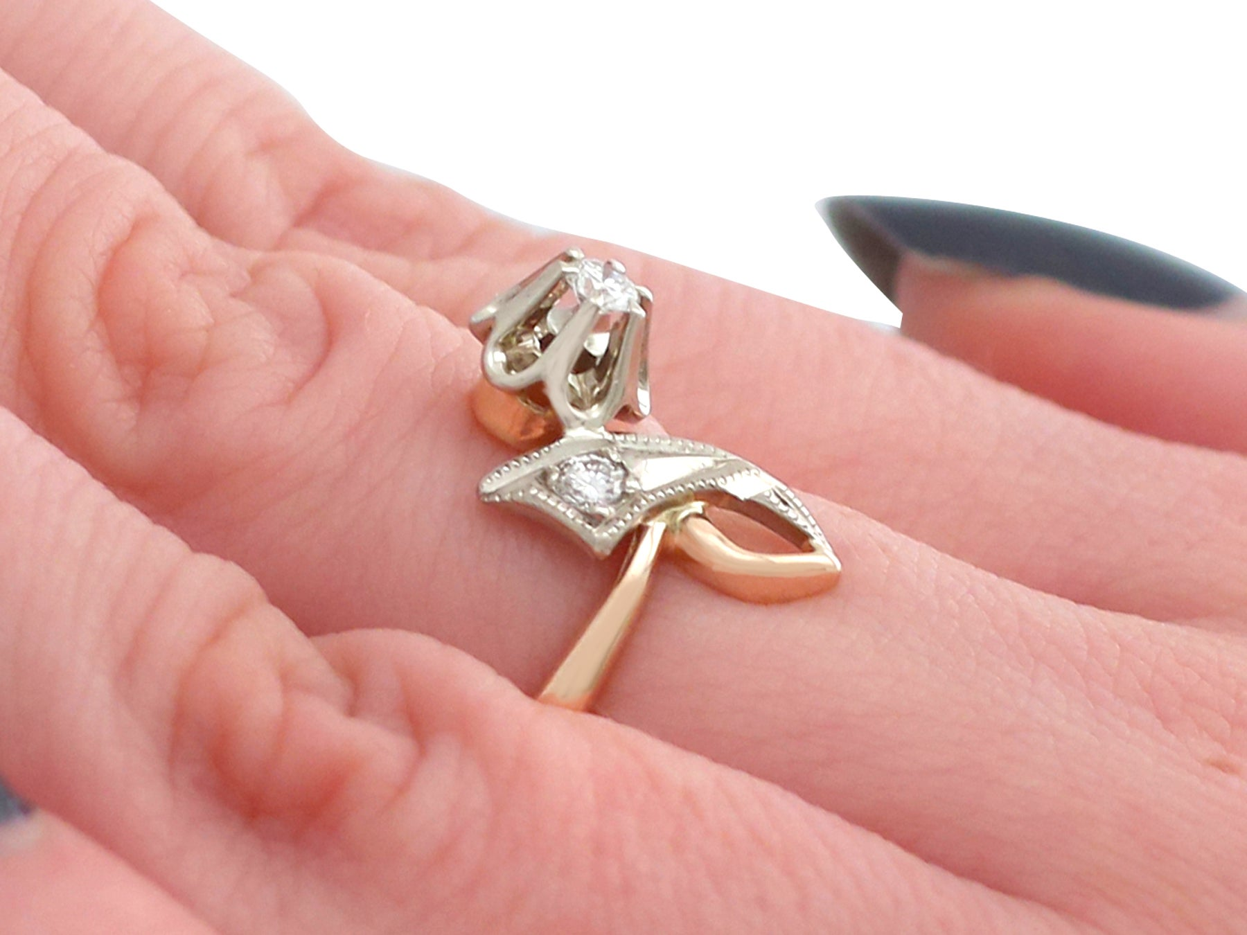 Contemporary 1980s Russian Diamond and Yellow Gold Dress Ring For ...