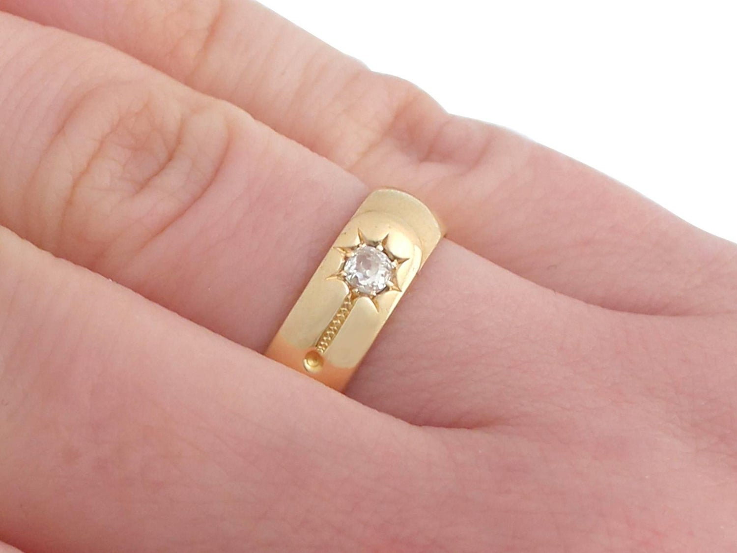 1880s Antique Diamond and Yellow Gold Wedding Band