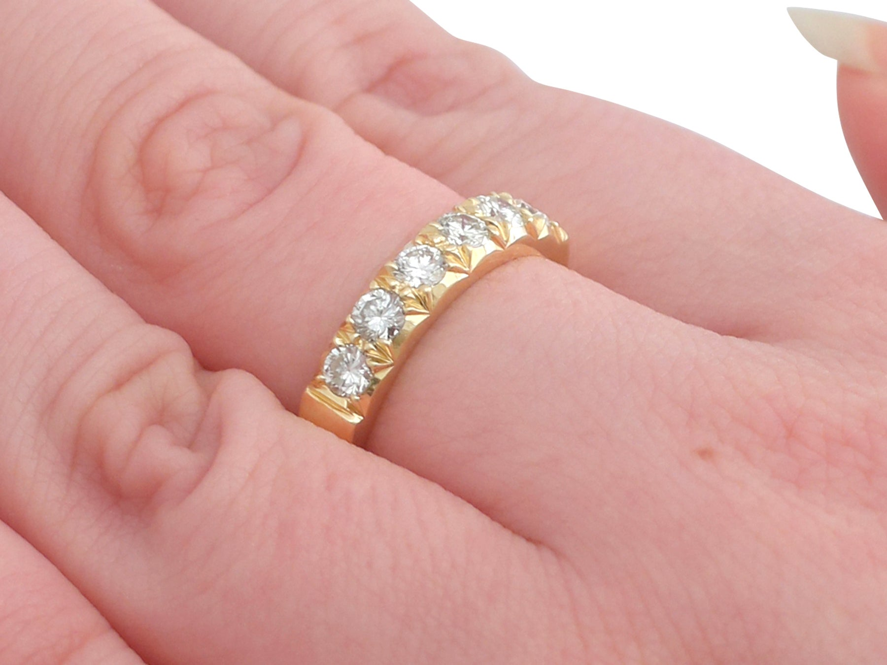 1970s Diamond Yellow Gold Half Eternity Ring For Sale at 1stdibs